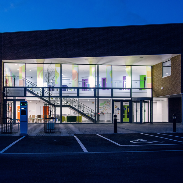 Rose Hill Community Centre at night